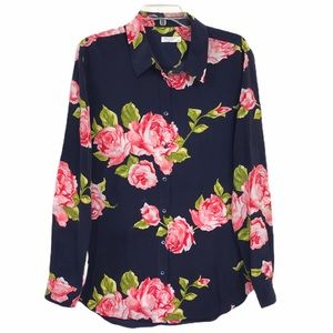 Equipment Femme Silk Button Blouse Rose Print